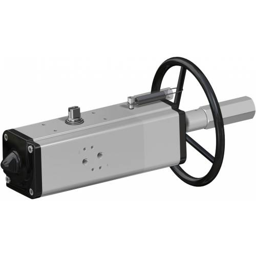 Pneumatic actuator double acting DA with integrated handwheel
